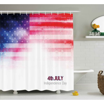 4th of July American Flag Background With Stars and Stripes Famous Country Us Design Shower Curtain Size: 69 W x 70 H