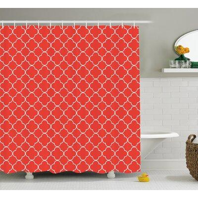 Vaughn Quatrefoil Arabesque Tile Motifs Oriental Royal Floral Petal Pattern Moroccan Print Shower Curtain Size: 69 W x 70 H