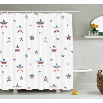 4th of July Vintage American Us States Flag Pattern With Metal Rusty Effects Picture Shower Curtain Size: 69 W x 70 H