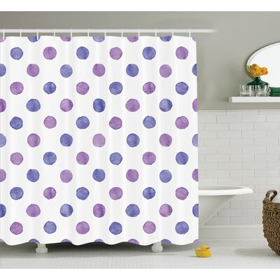 Debbie Purple Watercolor Paint Nostalgic Polka Dot Pattern Nursery Room Decor Classic Print Shower Curtain Size: 69 W x 75 H