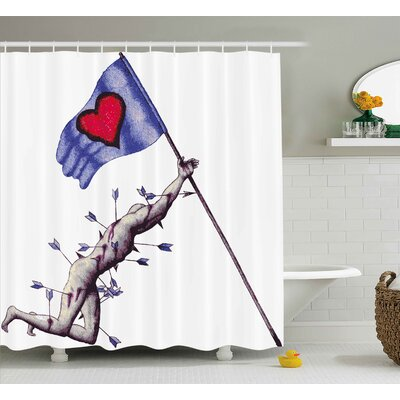 Sherrie Love a Warrior Wounded By Arrows Holding The Flag of Love When Dying Illustration Shower Curtain Size: 69 W x 70 H