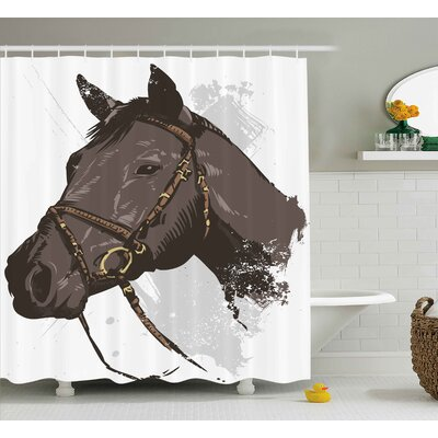 Myrna Wild Horse Portrait With Grunge Paintbrush Effects Graphic Art Design Shower Curtain Size: 69 W x 70 H