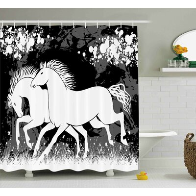 Karg Modern Antique Roman Time Gladiator Two Race Horses With Paint Marks Image Shower Curtain Size: 69 W x 70 H