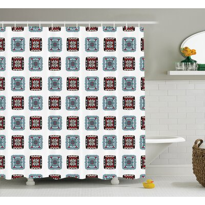 Elisabeth Geometric Square Shaped Lines Aztec Tribal Forms With Ethnic Detail Folk Batik Image Shower Curtain Size: 69