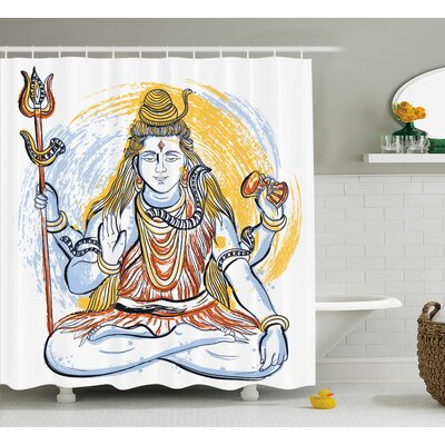 Nouaceur Yoga Legendary Four Handed Oriental Lord Holding Axe South Indian Grungy Style Theme Shower Curtain Size: 69 W x 70 H