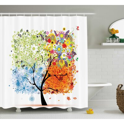 Gina Season Tree Branches With Flowers Spring Summer Autumn Winter Theme Artwork Shower Curtain Size: 69 W x 70 H