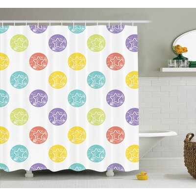Shirley Star Stamps Pattern Grunge Retro Style Art Print Modern Toddler Baby Room Shower Curtain Size: 69 W x 70 H