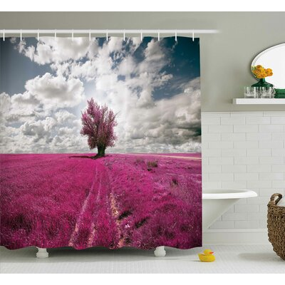 Yasmina Nature Surreal Enchanted Oniric Meadow With Single Tree Idyllic Unusual Scene Shower Curtain Size: 69 W x 70 H