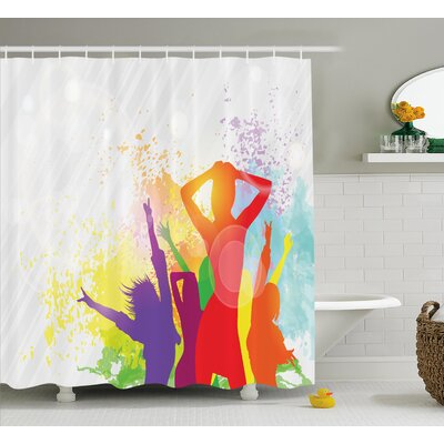 Lara Party Theme Splashing Dancing Girls Illustration Artistic Design Pattern Shower Curtain Size: 69 W x 70 H