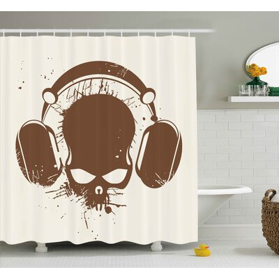Tonia Music Skull With Headphones Listening Dead Dj Grunge Retro Style Graphic Print Shower Curtain Size: 69 W x 70 H