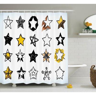 Keisha Sweet Sixteen Stars Hand Drawn Colorful Art Rock Punk Themed Teen Room Art Shower Curtain Size: 69 W x 70 H