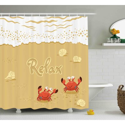 Lucile Funny Summer Card With Cute Crabs on The Beach Holiday Theme Print Shower Curtain Size: 69 W x 70 H