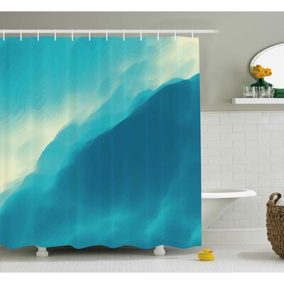 Kate Modern Oil Artwork Cloud Wave Image With Ombre Seem Colored Contemporary Artwork Shower Curtain Size: 69 W x 70 H