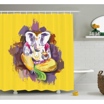 Johnston Indian Elephant Lord Shower Curtain Size: 69 W x 75 H