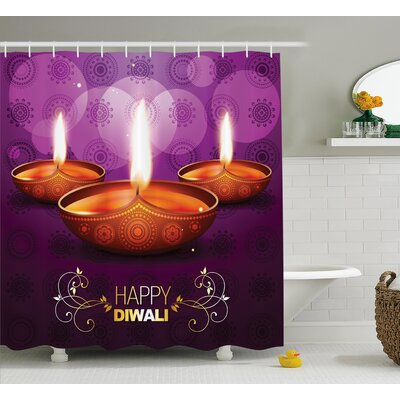 Andaluss Diwali Indian Celebration Religious Candle Burning Image and Paisley Backdrop Print Shower Curtain Size: 69 W x 70 H