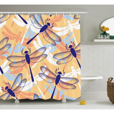 Stuart Big Repetitive Dragonfly Figures With Two Patched Wings Flying Predator Motif Shower Curtain Size: 69 W x 75 H
