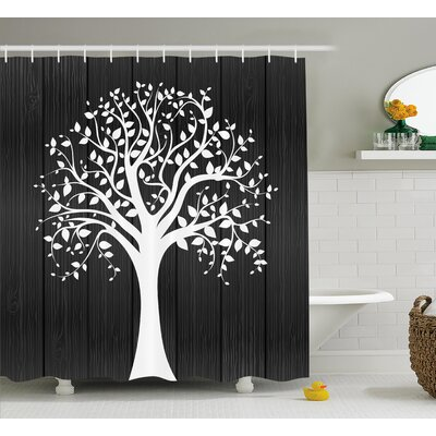 Caroline a Tree With Many Leaves Pattern Wooden Background Botanical Decor Illustration Shower Curtain Size: 69 W x 84 H