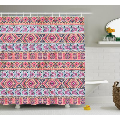 Angie Tribal Retro Style Indian Aztec Spring Native American Pattern Shower Curtain Size: 69 W x 70 H
