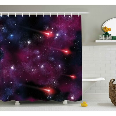 Jeri Four Comet on The Sky Stardust Meteor Shower Magical Wish Halo Scenery Shower Curtain Size: 69 W x 70 H