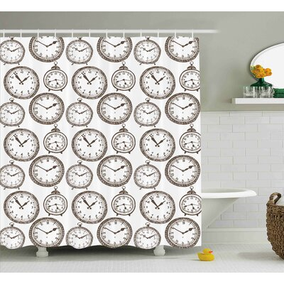 Debora Vintage Pocket Watch With Numbers on It Design Chronometers Decorations For Home Shower Curtain Size: 69 W x 75 H