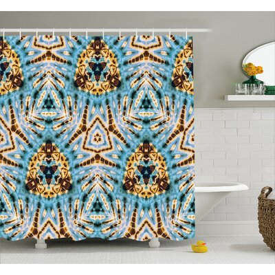 Auchincloss Tie Dye Tribal Stylized Trippy Shapes With Dirt Grungy Paint Reflections Artisan Print Shower Curtain Size: 69 W x 75 H