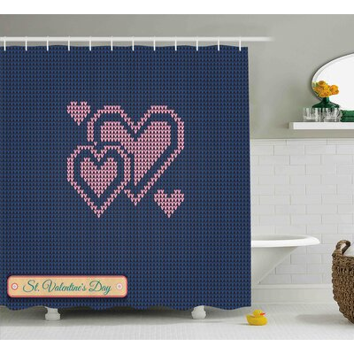 Valentines Day Digital Knit Wear Like Pattern With Hears and Search Bar Modern Shower Curtain Size: 69 W x 70 H