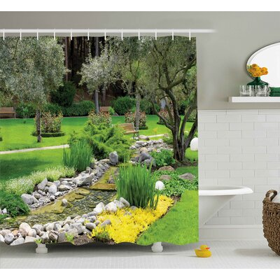 Waverley Garden Japanese Park Style Recreational View With Pond Grass Stones and Trees Landscape Shower Curtain Size: 69 W x 84 H
