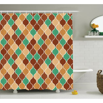 Acrisius Quatrefoil Vintage Style Arabic Ornamental Figures Lattice Eastern Culture Pattern Art Shower Curtain Size: 69 W x 70 H