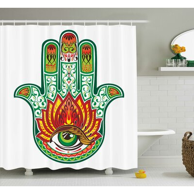 Ashcom Hamsa Middle Eastern Sacred Hand of Fatima With Talisman Defense of Evil Eye Artprint Shower Curtain Size: 69 W x 70 H