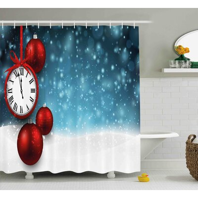 Joan Clock New Year Theme Christmas Balls and a Vintage Clock Background With Snowflakes Shower Curtain Size: 69 W x 75 H