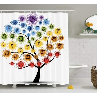 Jordan Yoga Tree With Branch of Chakra Icon Harmony Shower Curtain Size: 69 W x 70 H