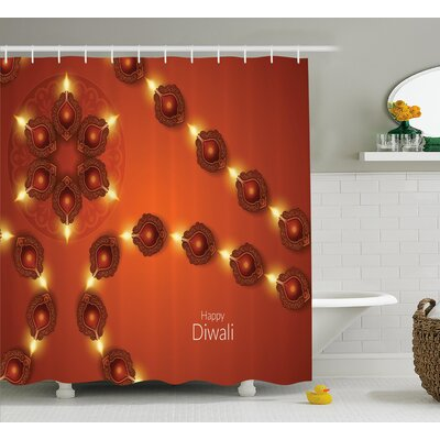 Harderwijk Diwali Paisley Decor Indian Festive Celebration Image With Candle and Light Print Shower Curtain Size: 69 W x 70 H