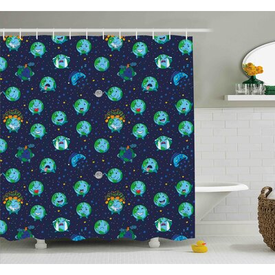 Frances Emoji Planet Earth As Smiley Angry Happy Sad Cheerful Faces Expressions and Star Backdrop Shower Curtain Size: 69 W x 75 H
