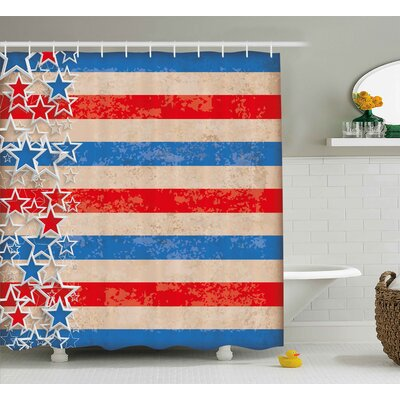 4th of July American Soldier Saluting Shower Curtain Size: 69 W x 70 H