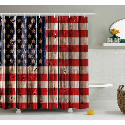 4th of July Happy National Day Liberty Freedom Democracy Country Patriarchal Graphic Shower Curtain Size: 69 W x 70 H
