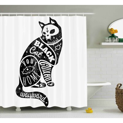 Kastel Modern Black Fortune Magician Skull Cat Drawing With Part Magical Quote Artwork Image Shower Curtain Size: 69 W x 70 H