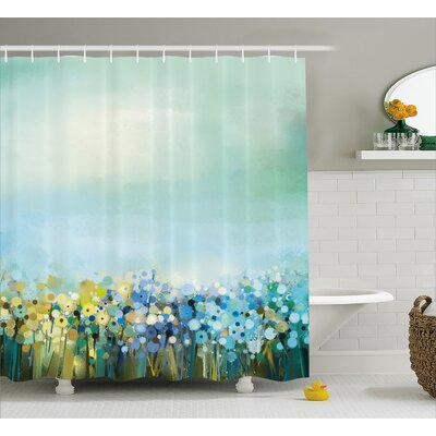 Judi Aqua Impressionist Field Paint With Blooms Tranquil Concept Shower Curtain Size: 69 W x 75 H