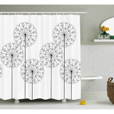 Kass Modern Hand Drawn Digital Flower Dandelions Botanic Plants Nature Artwork Print Shower Curtain Size: 69 W x 70 H