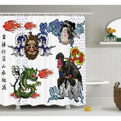Isabella Dragon Japanese Manga Figures Dragon With Fire a Man With Kimono Geisha Tribal Theme Shower Curtain Size: 69 W x 70 H