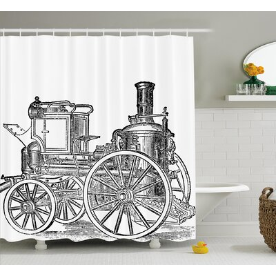 Jami Steam Engine Old Fireman Truck Drawing Effect Picture British Antique Transport Print Shower Curtain Size: 69 W x 75 H