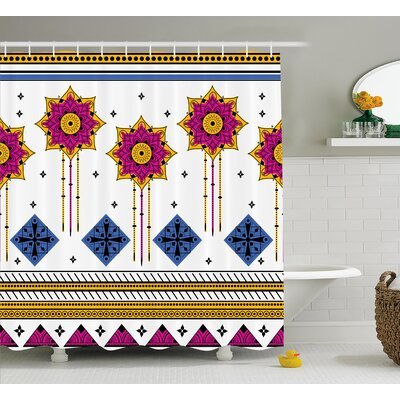 Marleigh Tribal Colored Vector Seamless Pattern With Indian Mayan Inspired Print Shower Curtain Size: 69 W x 70 H