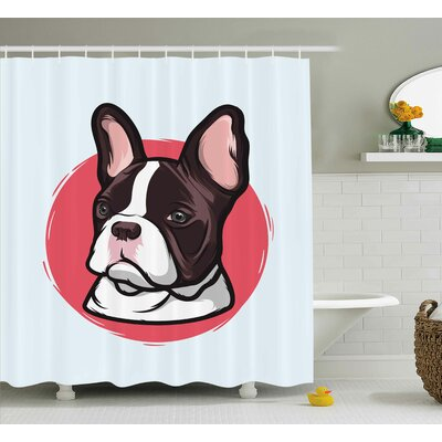 Maryellen Animal Cute French Bulldog Portrait Hipster Purebred Creature Pet Illustration Shower Curtain Size: 69 W x 70 H