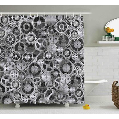 Breene Clock a Background With Metal Realistic Cogwheels Engineering and Technologic Theme Pattern Shower Curtain Size: 69 W x 70 H