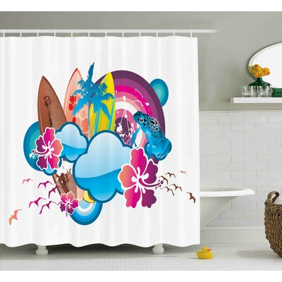 Javier Summer Cartoon Print Season Hot Beach Vbes With Surfing Boat Waves Flowers Frogs Artwork Shower Curtain Size: 69 W x 70 H