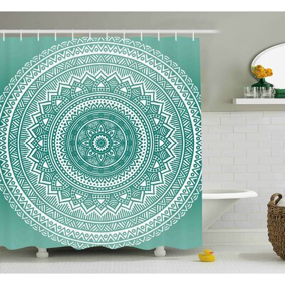 Adeline Teal Ombre Mandala Pattern Boho Style Floral Dots and Stripes With Petals Indian Print Shower Curtain Size: 69 W x 70 H