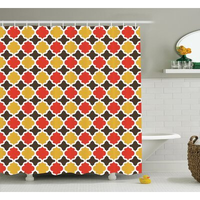 Andromeda Quatrefoil Fall Leaves Themed Clover Figures Lattice on Ethnic Boho Style Pattern Artwork Shower Curtain Size: 69 W x 70 H