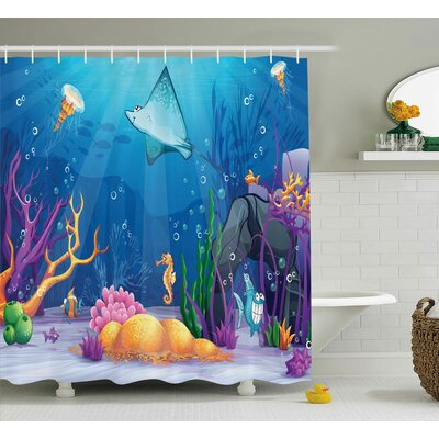 Dolly Ocean Sealife Navy Fish Moss Shells Bubbles Stones and Sunbeams Rays Cartoon Print Shower Curtain Size: 69 W x 70 H