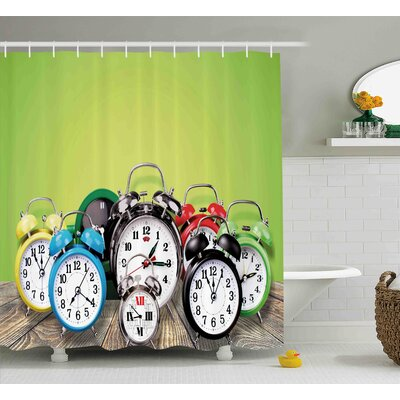 Gracie Group of Alarm Clocks on The Wooden Ground Digital Print Nostalgic Design Shower Curtain Size: 69 W x 70 H