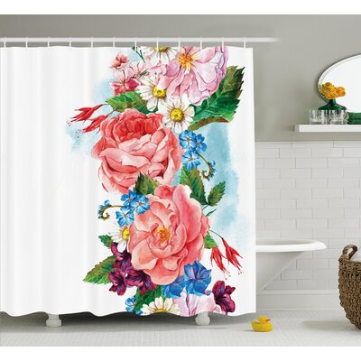 Brady Leaves With Branch Roses Daisies and Lilacs Plants Nature Theme Art Print Shower Curtain Size: 69 W x 70 H