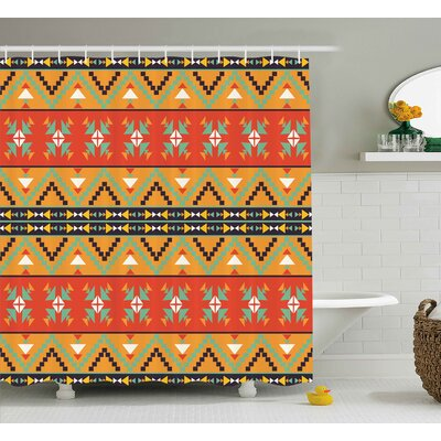 Burnestown Abstract Tribal Decor Aztec Motifs With Zigzags Geometric Design Pattern Shower Curtain Size: 69 W x 70 H
